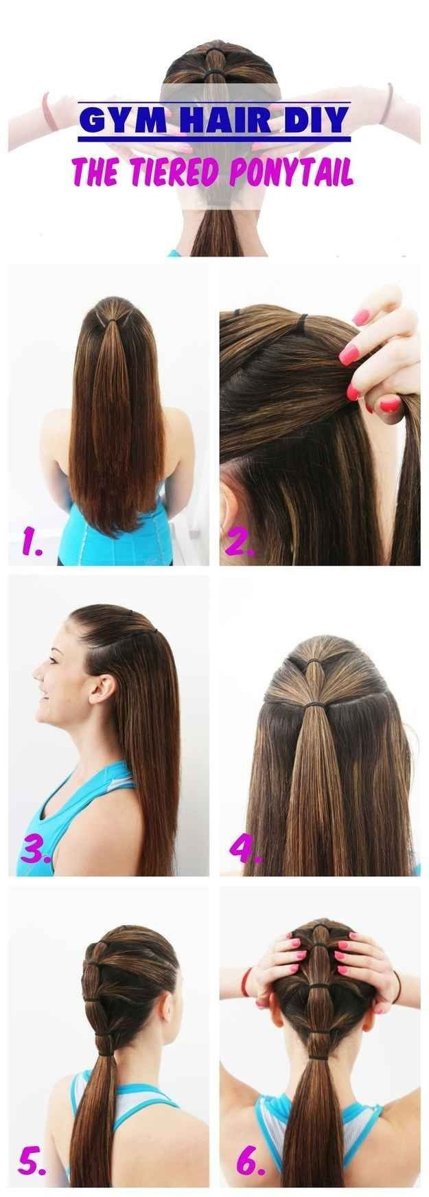 A tiered ponytail is the most secure way to pull your hair back while exercising.