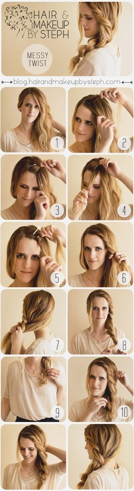If you have thick hair, this chunky twist is a romantic variation on the side pony.