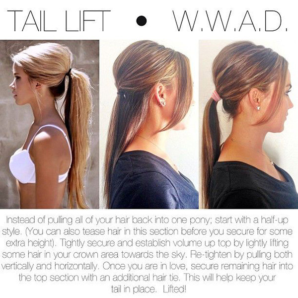 Get a little height on top, no hairspray required, by doing a half-up hairstyle first.