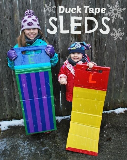 Don't have a sled handy? Make your own with duct tape!