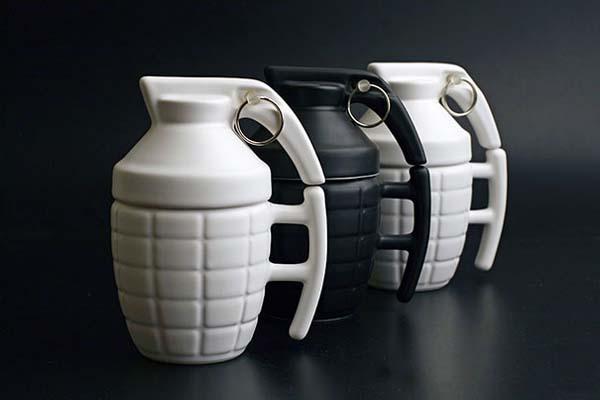 22.) Hand grenade mugs