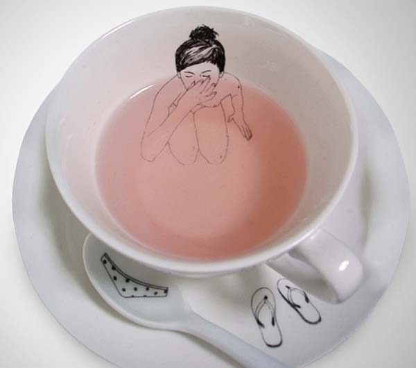 1.) Bathing girl teacup set