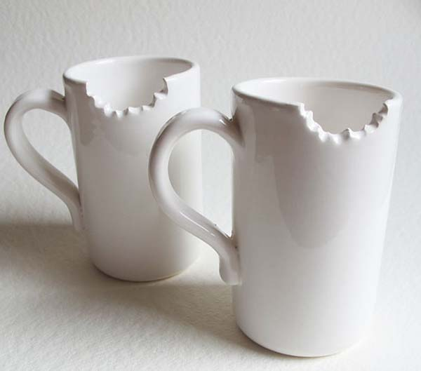 21.) Mugs with a bite taken out