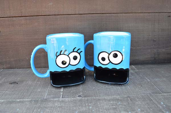 3.) Cookie monster mugs (with cookie holder)
